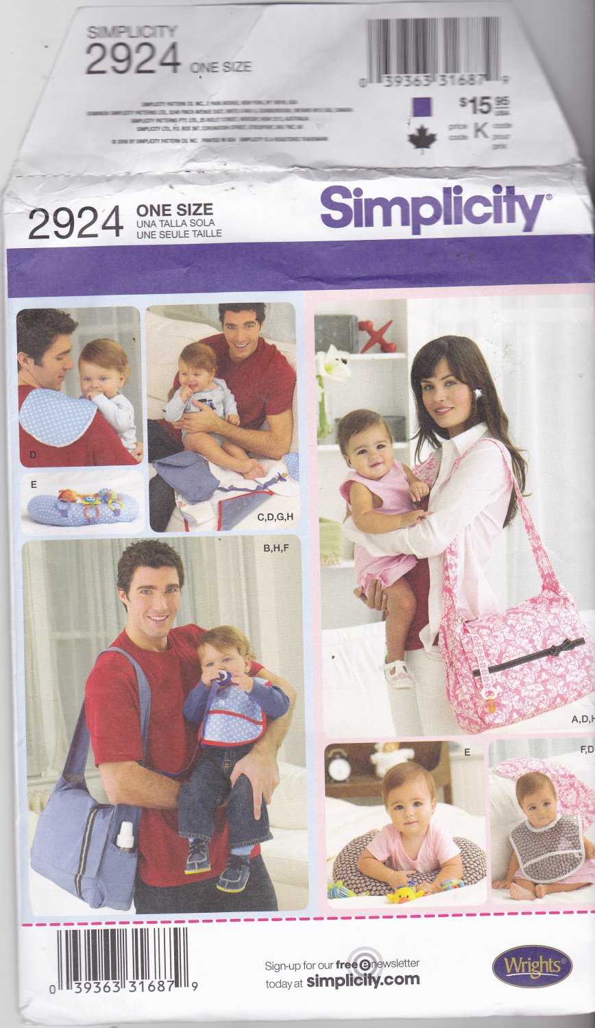 Simplicity 2924 Pattern Uncut FF Diaper Bags and Baby Accessories Nursing Pillow Bib