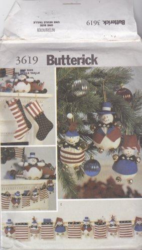 Butterick 3619 Pattern Uncut FF Snowman Patriotic American Flag Christmas Decorations