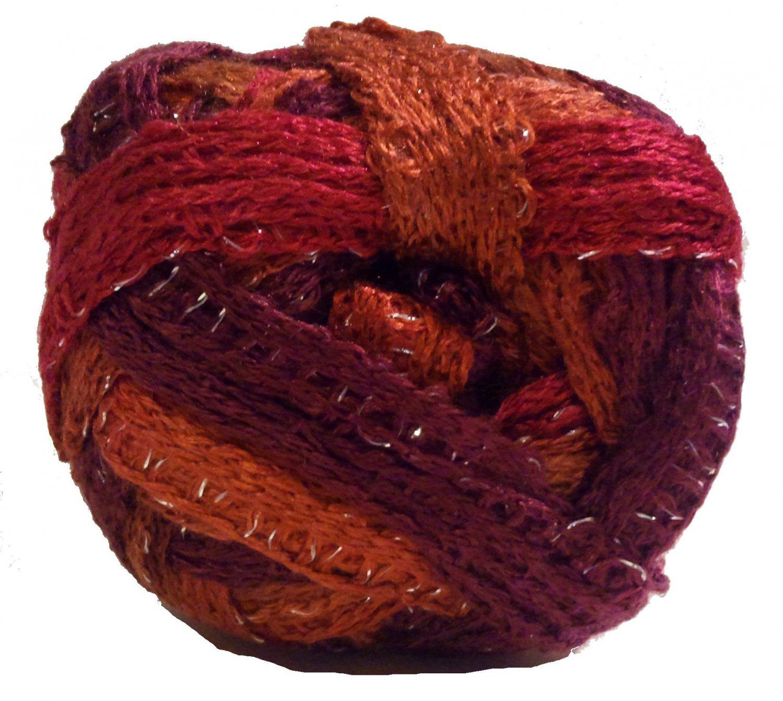 Sashay Yarn Red Heart 3.5 oz Salsa 1949 Super Bulky 6 Ruffle Scarf Yarn Red Orange Magenta Rust