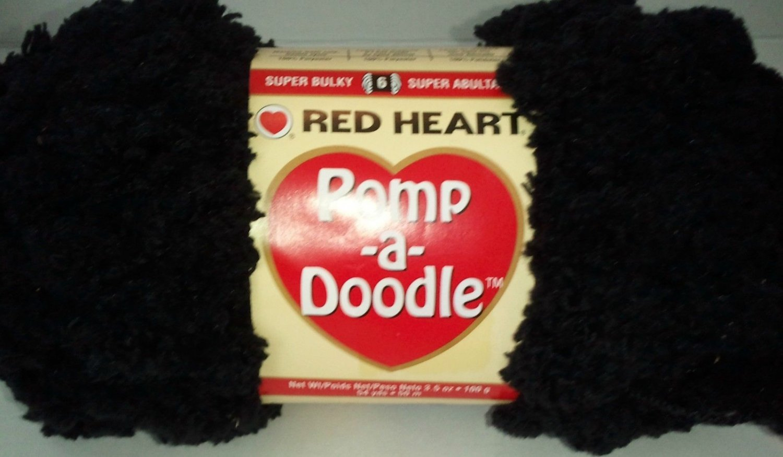 Pomp A Doodle Yarn Red Heart 3.5 ounces 54 yards Black Jet 9012 Super Bulky 6 Pom Pom