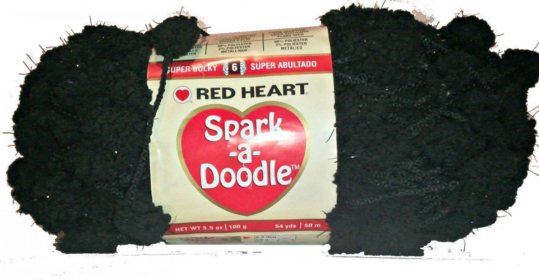 Spark A Doodle Yarn Red Heart 3.5 ounces 54 yards Black Night Light 9012 Super Bulky 6 Pom Pom