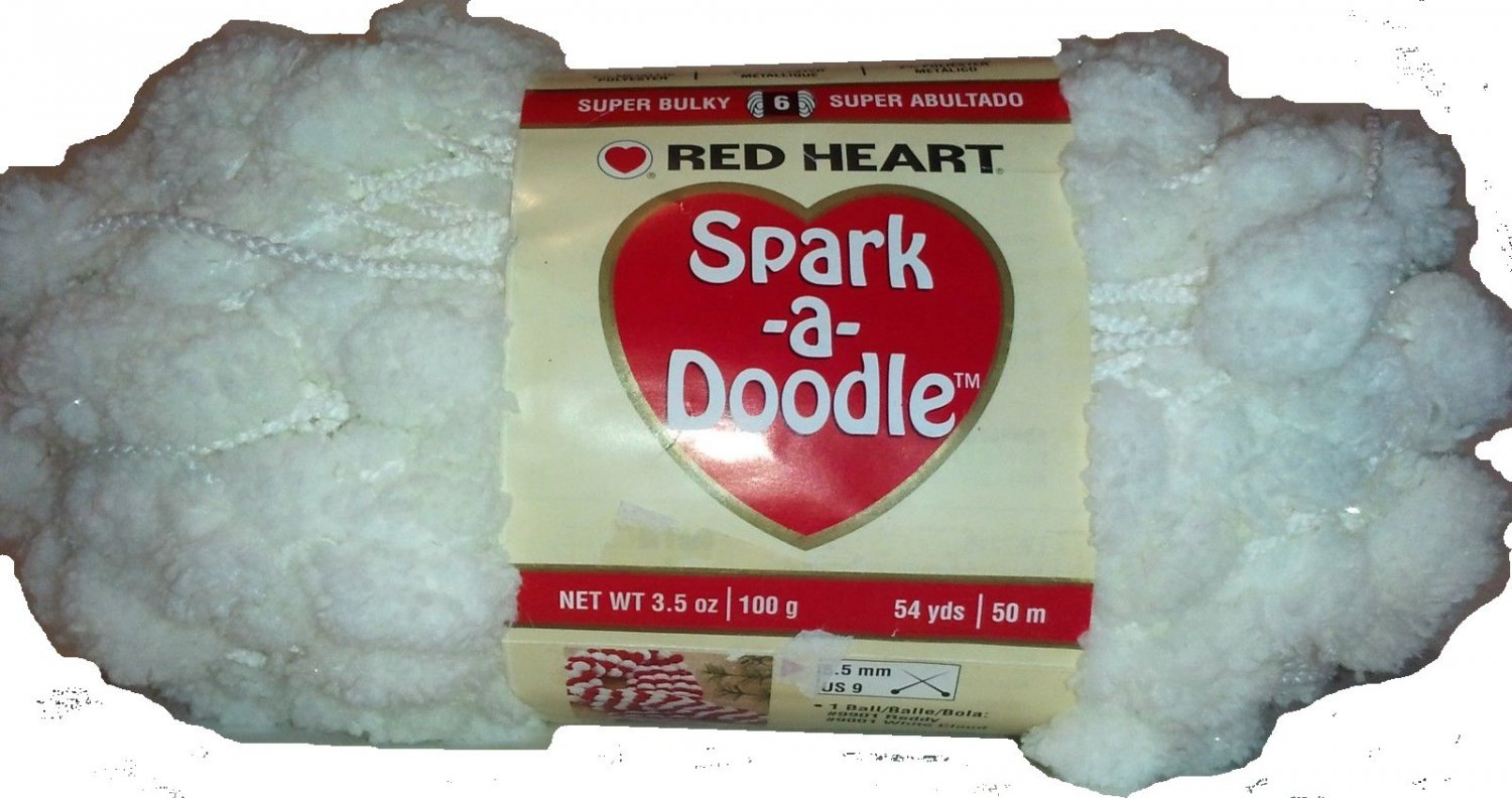 Spark A Doodle Yarn Red Heart 3.5 ounces 54 yards White Cloud 9001 Super Bulky 6 Pom Pom