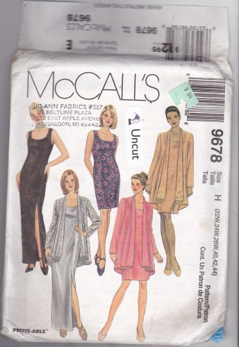 McCall's 9678 Pattern Uncut 22w 24w 26w 40 42 44 Plus Sleeveless Dress Jacket