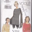 Vogue 7800 Pattern Uncut 12 14 16 Fitted Dressy Bias Top Bell or Shaped or Long Sleeves