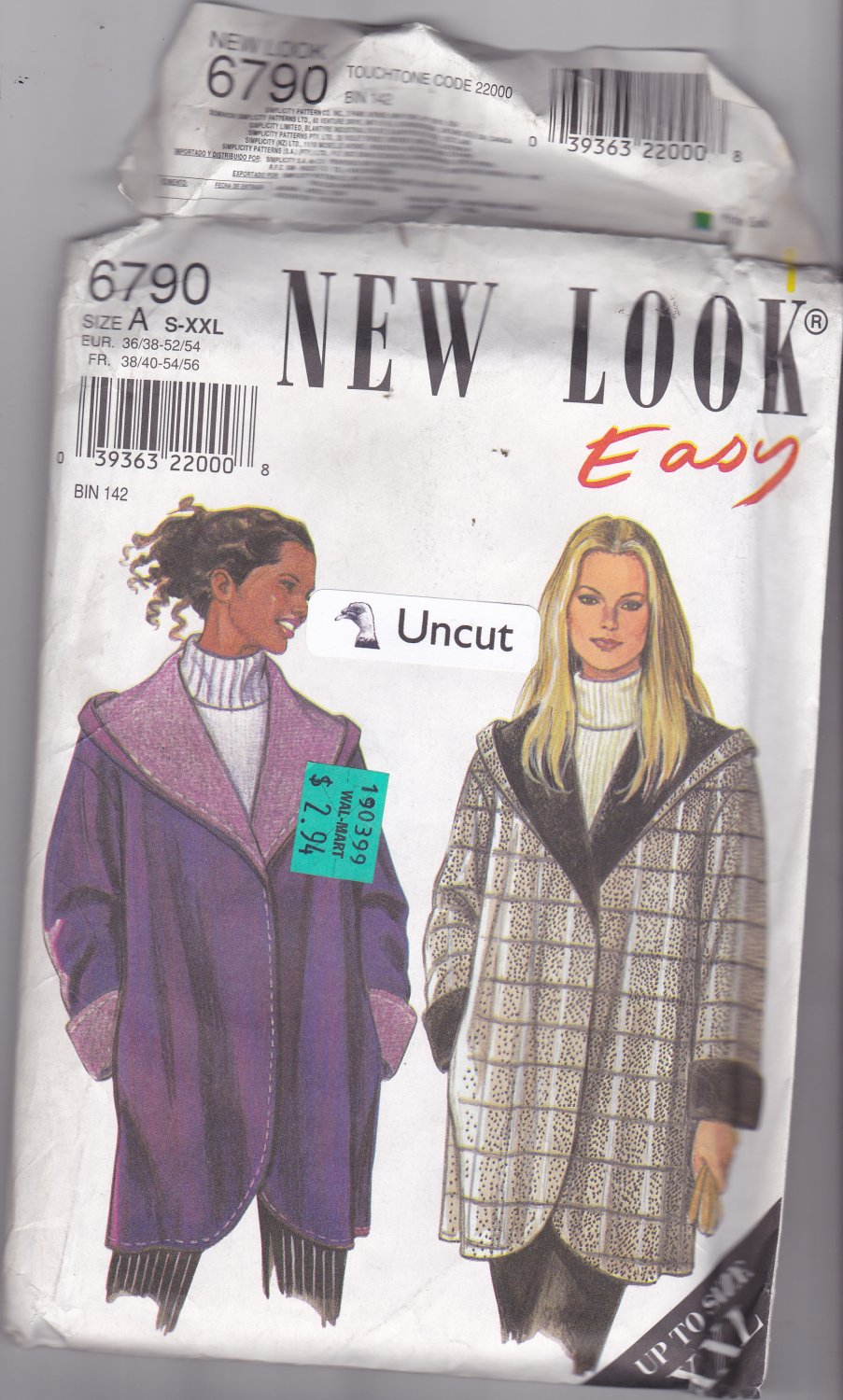 Simplicity New Look 6790 Pattern Uncut S M L XL XXL Lined Warm Coat with Hood