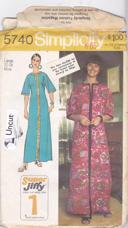 Simplicity 5740 Pattern Uncut Large 16 18 Super Jiffy Caftan Kimono Sleeves Dress