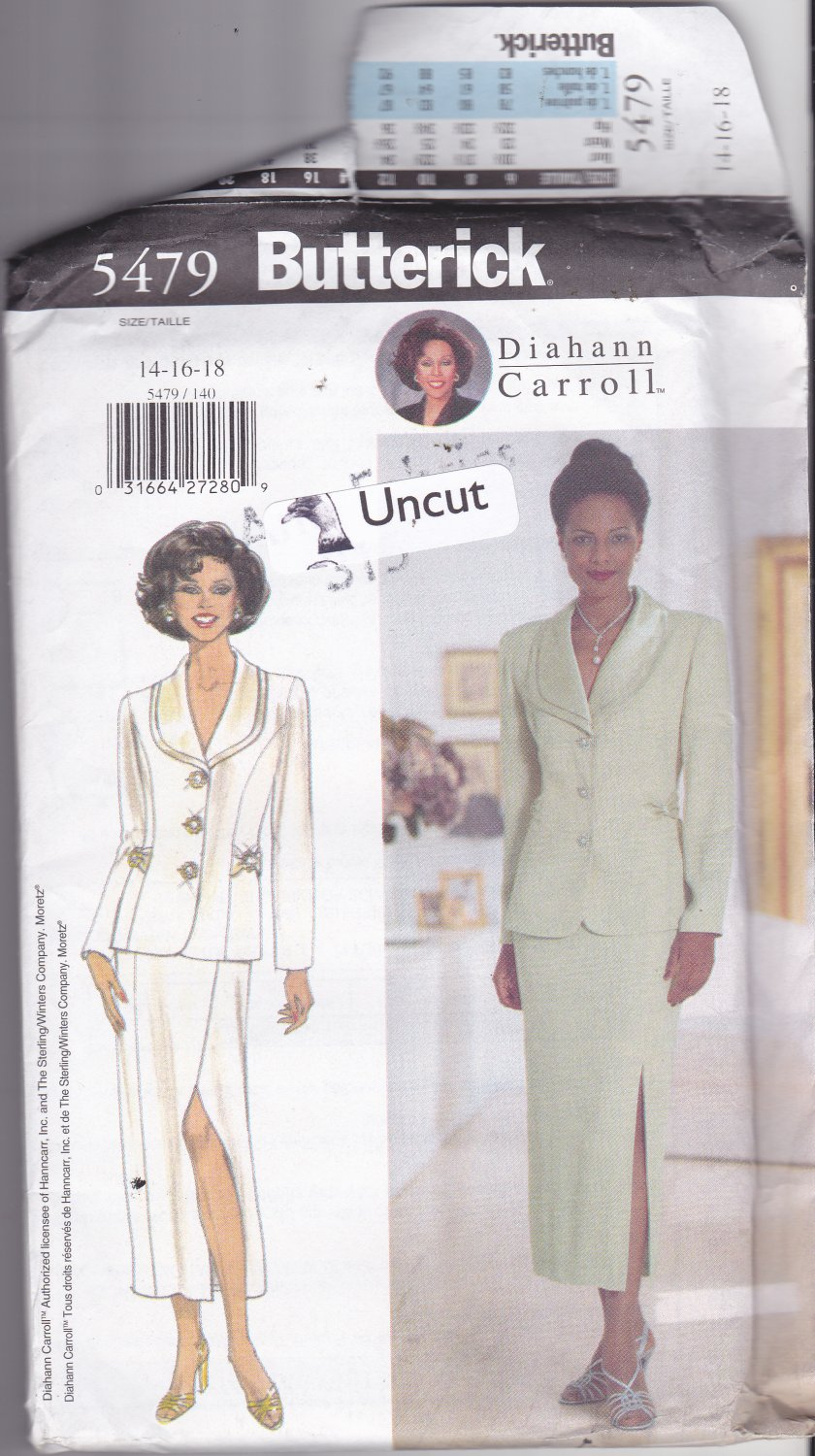 Butterick 5479 Pattern Uncut FF 14 16 18 Dressy Lined Jacket Skirt Diahann Carroll