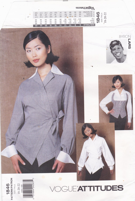 Vogue 1846 Pattern Uncut FF 18 20 22 plus Dressy Wrap and Tie Blouse Byron Lars Attitudes