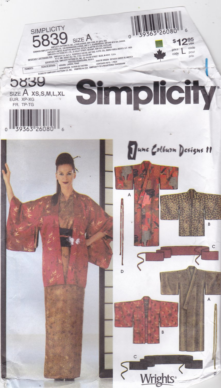 Simplicity 5839 Kimono Haori Sash Tie Pattern June Colburn XS S M L XL uncut