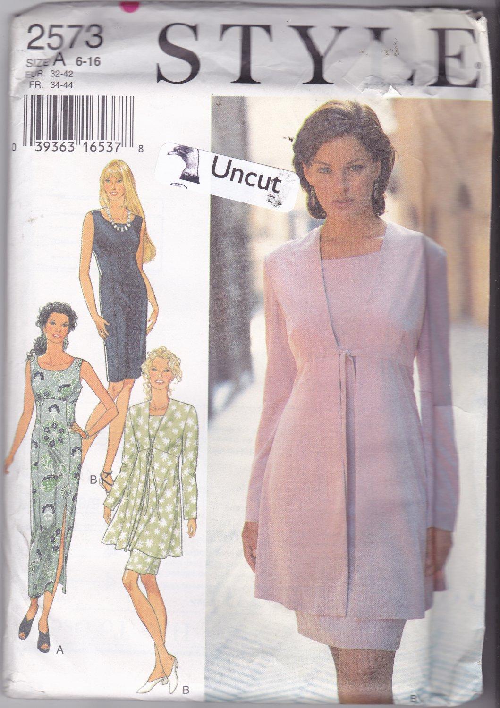 Style 2573 Pattern Uncut FF 6 8 10 12 14 16 Sleeveless Dress Tie Jacket Empire Waist