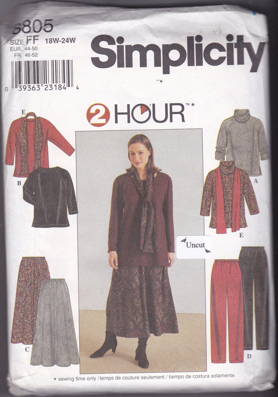 Simplicity 8805 Pattern Uncut FF 18w 20w 22w 24w Plus Top Skirt Pants Scarf Wardrobe Separates