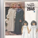 Little Vogue 2846 Pattern Uncut FF Girls size 6 Night Gown and Robe Sleepwear
