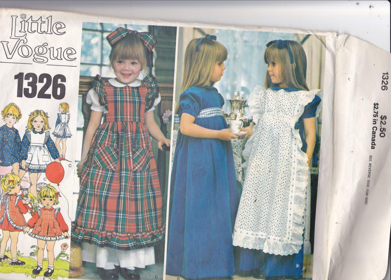 Little Vogue 1326 Pattern Girls size 4 Dress Pinafores Ruffles  High Waist