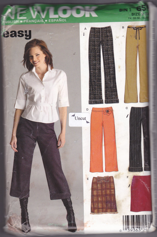 Simplicity New Look 6510 Pattern Uncut 10 12 14 16 18 20 22 Pants Capri Pants Skirt Easy to Sew
