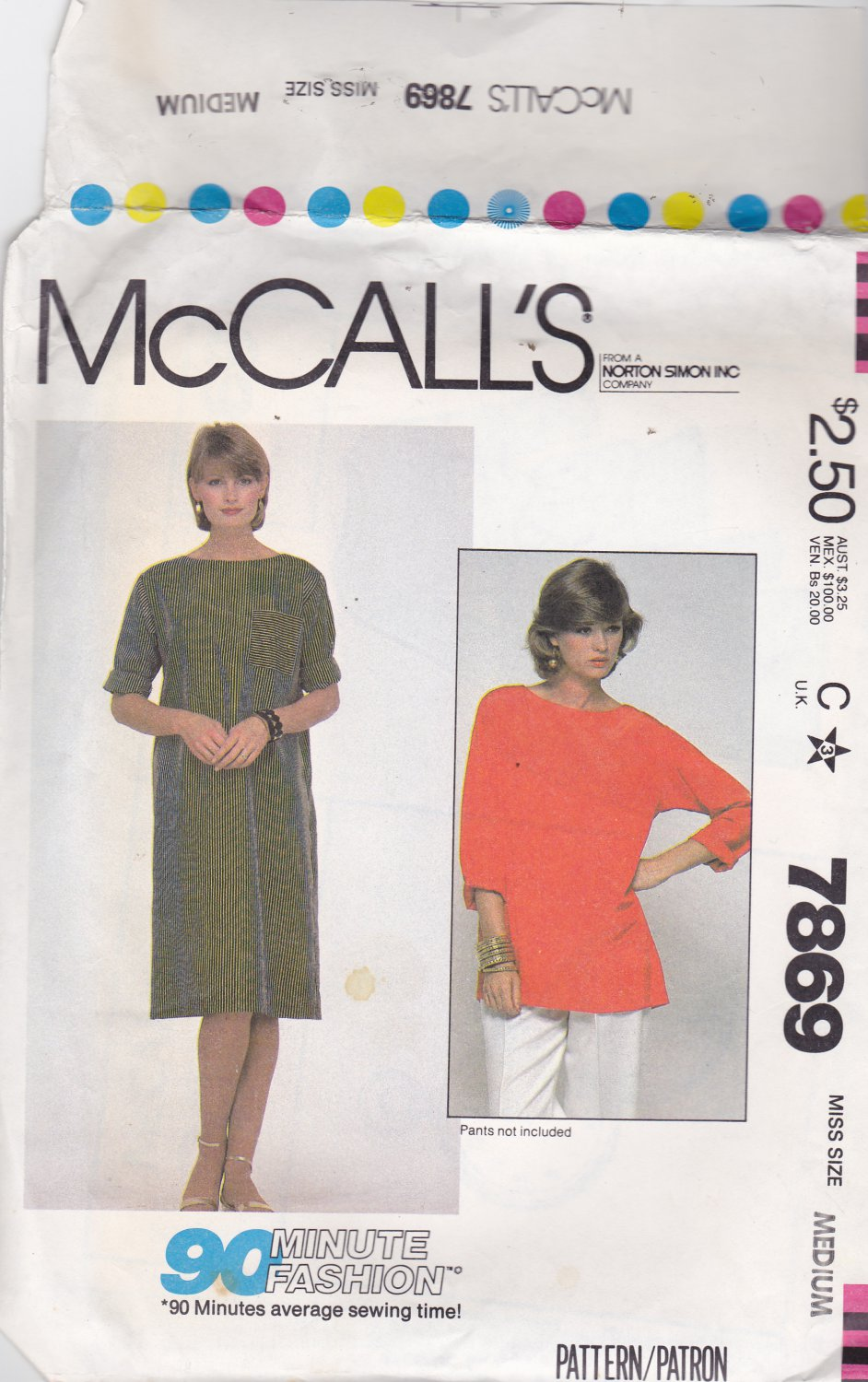 McCall's 7869 Pattern Uncut FF Medium 14 16 Pullover Loose Fit Dress or Tunic Modest Easy to Sew
