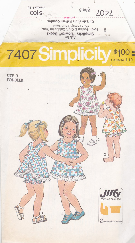 Simplicity 7407 Pattern Uncut FF Jiffy Girls size 3 Cross Back Sun Dress Panties Bloomers Easy