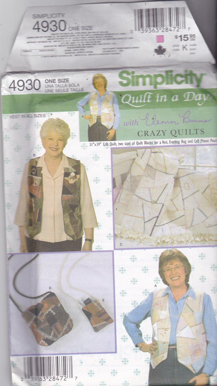 Simplicity 4930 Pattern Uncut FF Crazy Quilt Eleanor Burns Vest Evening Bag Cell Phone Pouch