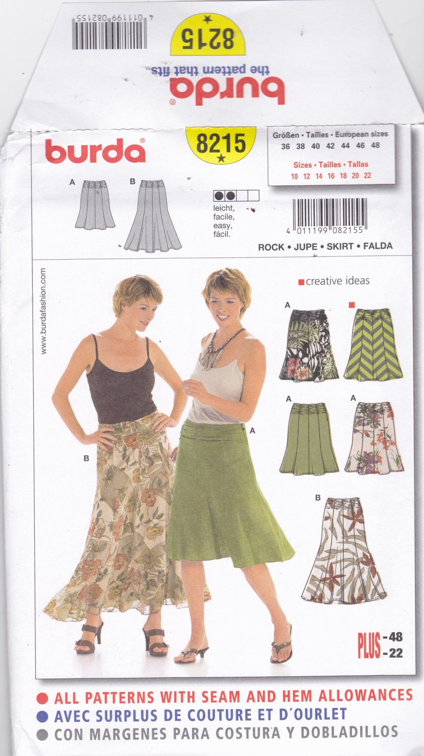 Burda 8215 Pattern Uncut FF 10 12 14 16 18 20 22 plus Fit & Flare Skirt Easy