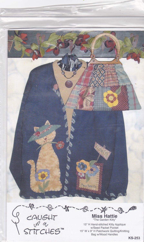 Miss Hattie Garden Kitty Pattern Uncut FF Caught Up In Stitches to make Applique Sweatshirt Bag