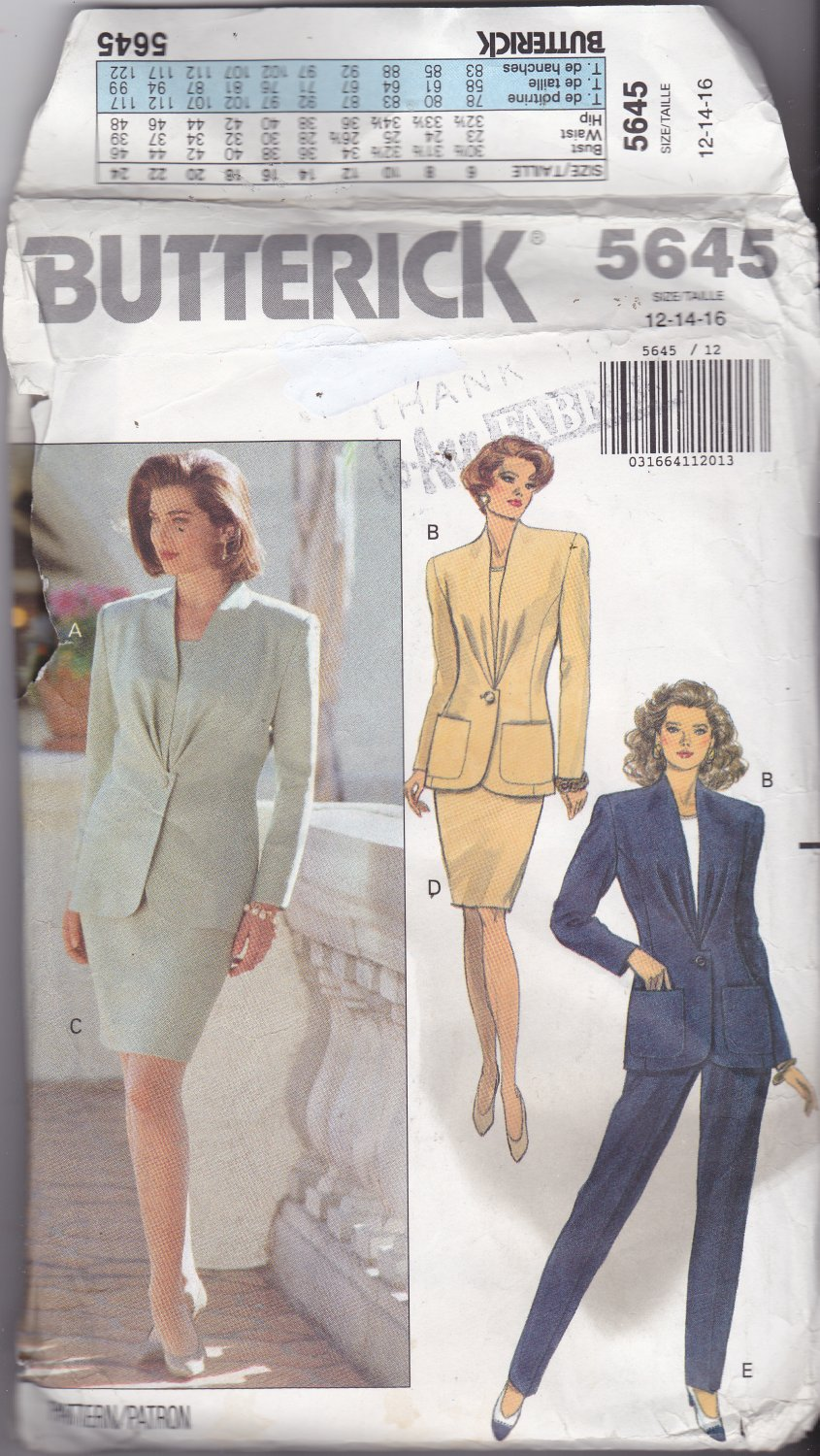 Butterick 5645 PatternJacket Skirt Pants 12 14 16, may be missing pieces, 50 cents plus shipping