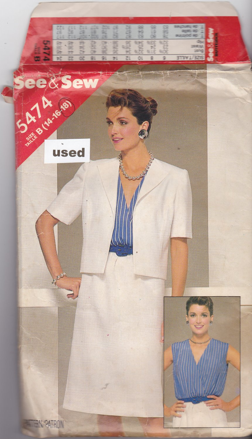 Butterick See and Sew 5474 size 18, may be missing pieces, 50 cents plus shipping