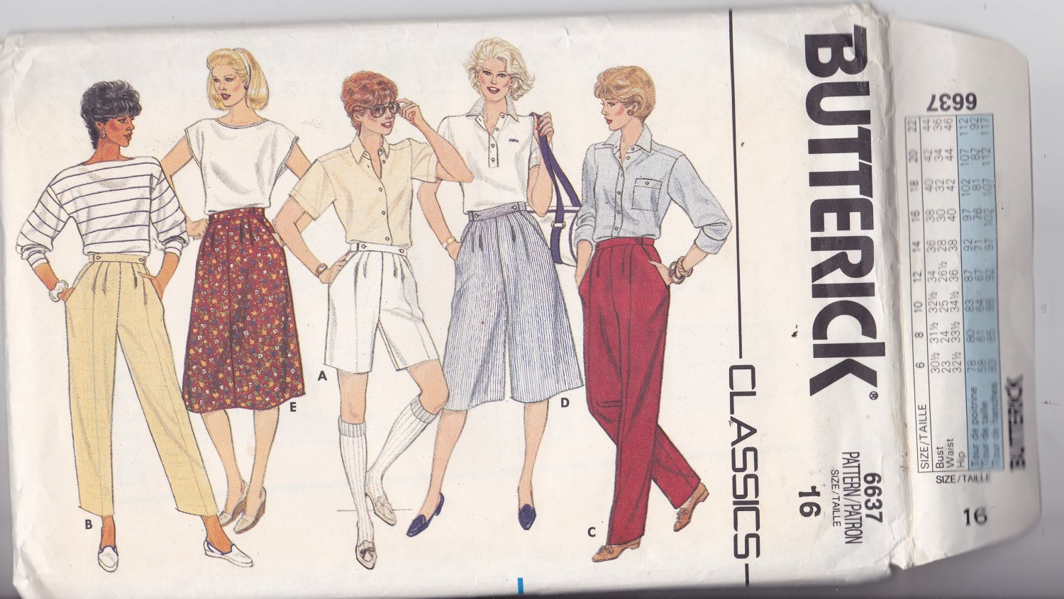 Butterick 6637 size 16, may be missing pieces, 50 cents plus shipping