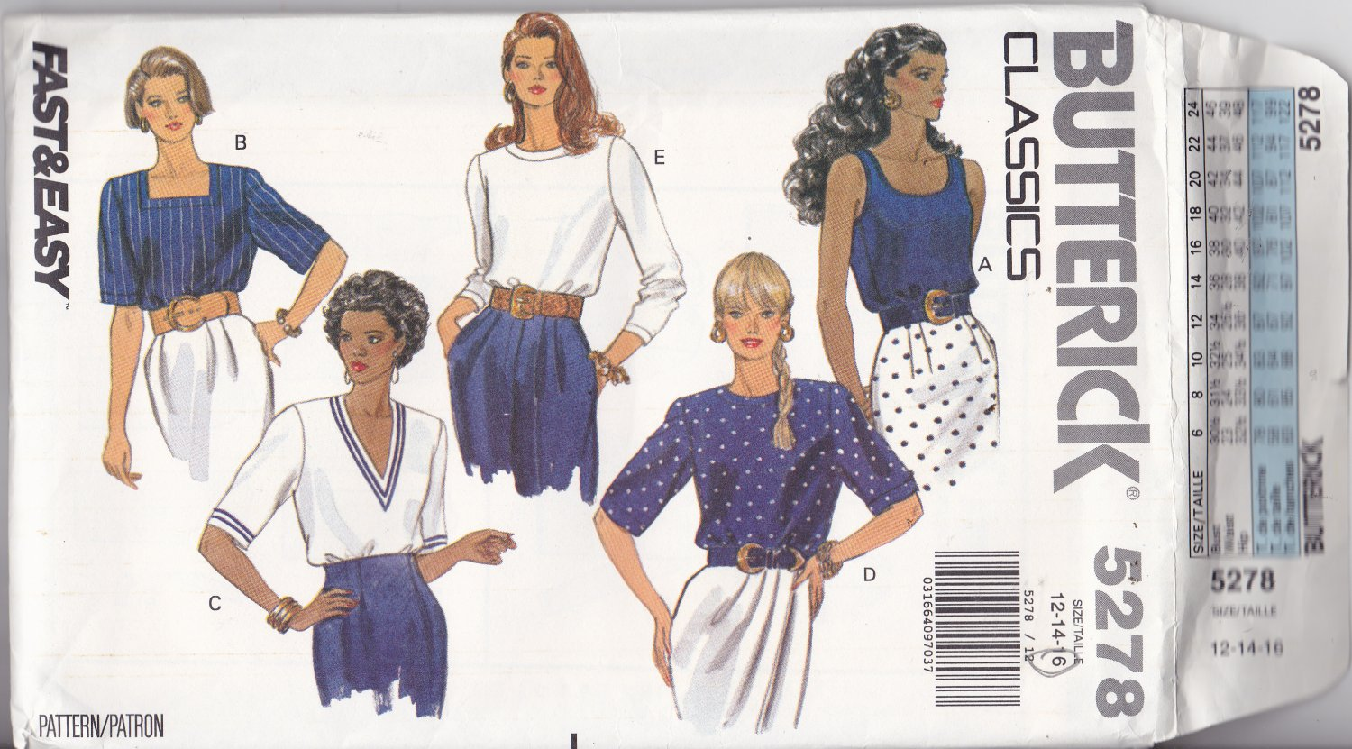 Butterick 5278 size 16, may be missing pieces, 50 cents plus shipping