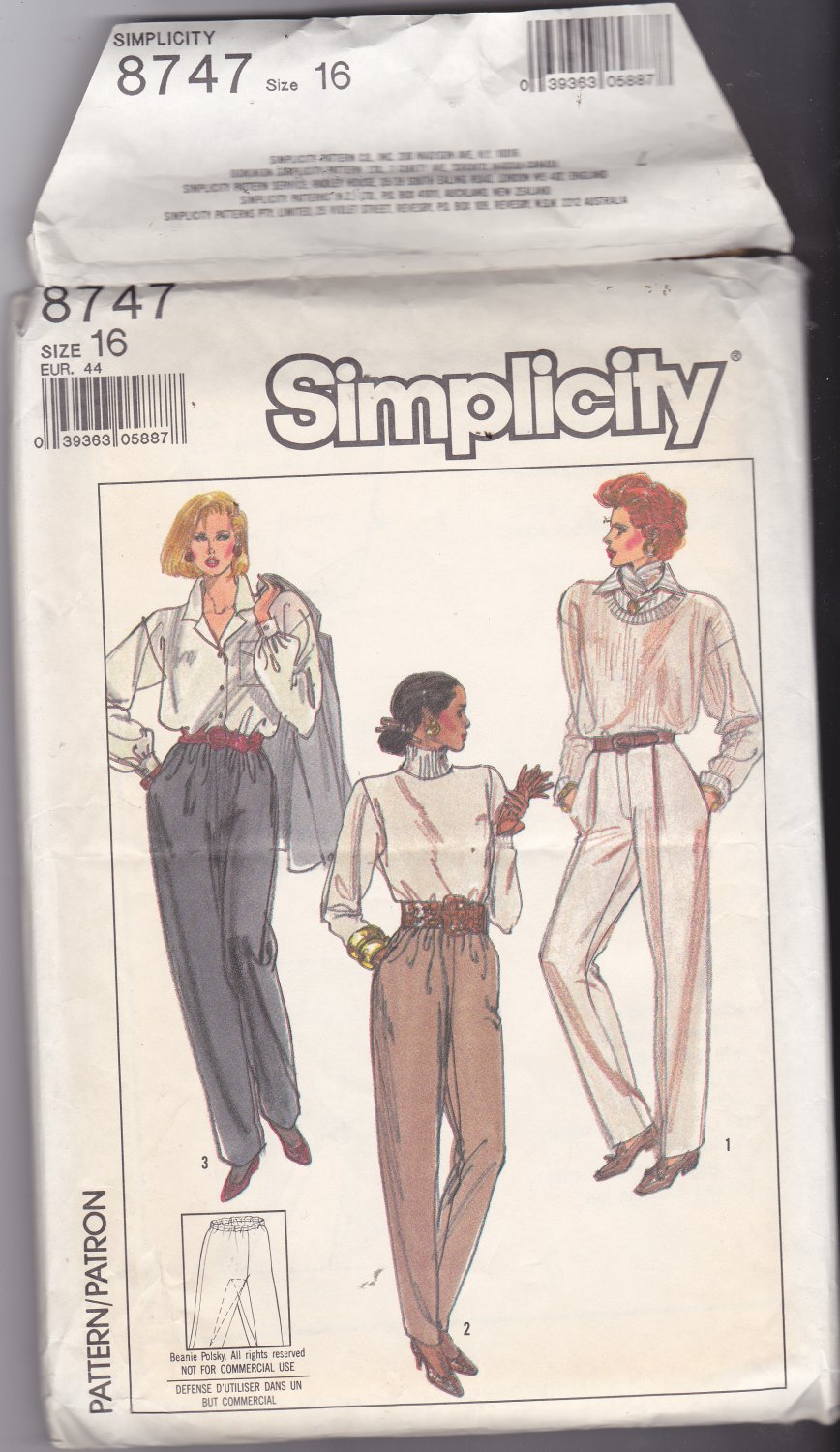 Simplicity 8747 size 16, may be missing pieces, 50 cents plus shipping