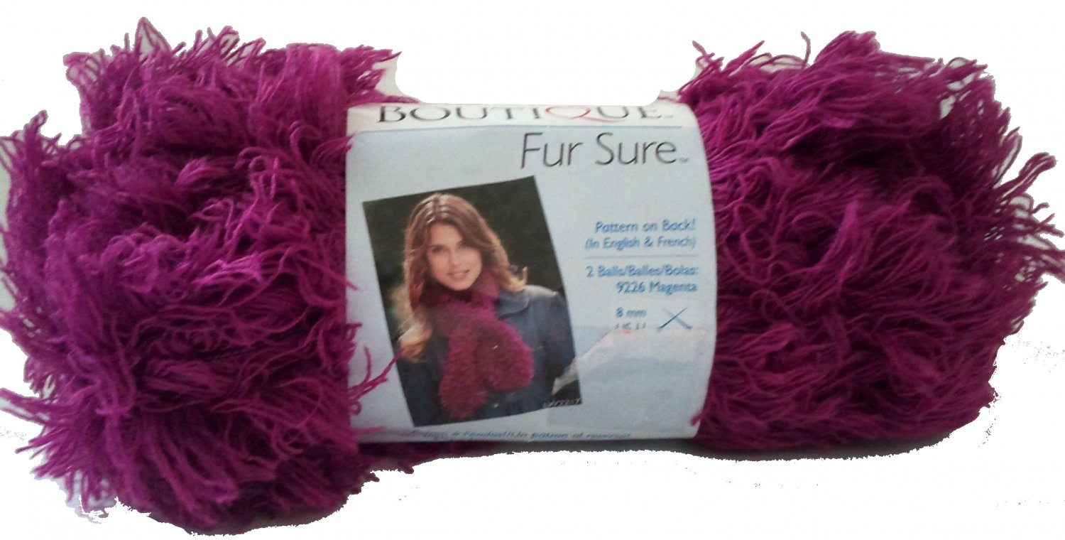 Fur Sure Yarn Magenta 9226 Art E776 Purple Pink Eyelash Yarn Super Bulky 6