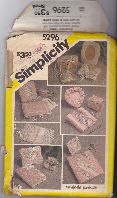 Simplicity 5296 Pattern Uncut FF Marjorie Puckett Desk and Dresser Accessories