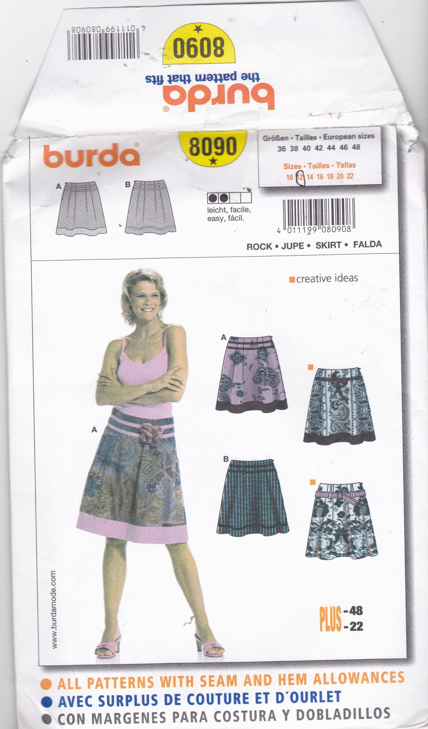 Burda 8090 size 12, may be missing pieces, 50 cents plus shipping