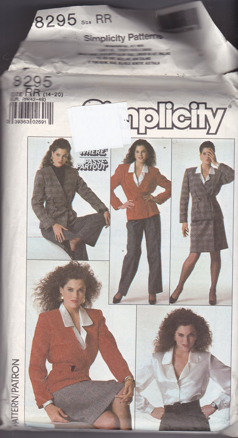 Simplicity 8295 Pattern Uncut FF size 14 16 18 20 plus Go Everywhere Career Separates