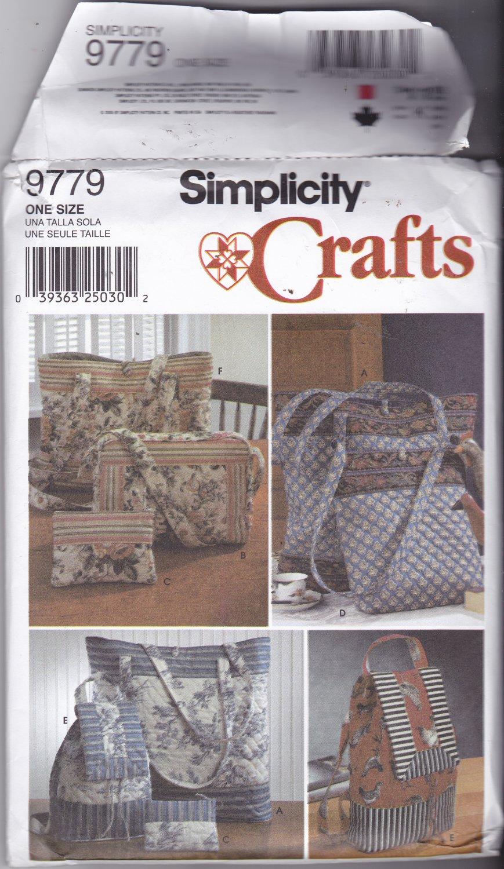 Simplicity 9779 Pattern Uncut FF Tote Bag Purse Backpack Cosmetic Bag