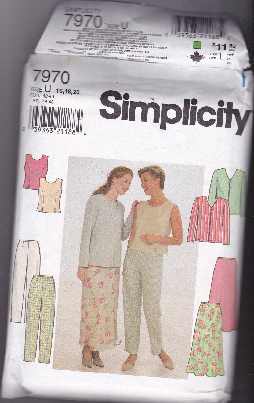 Simplicity 7970 Uncut FF 16 18 20 plus Separates Top Jacket Skirt Pants