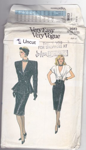 Vogue 9683 Pattern Uncut 6 8 10 Jacket Top Skirt Shoulder Pads Princess Seams Asymmetrical