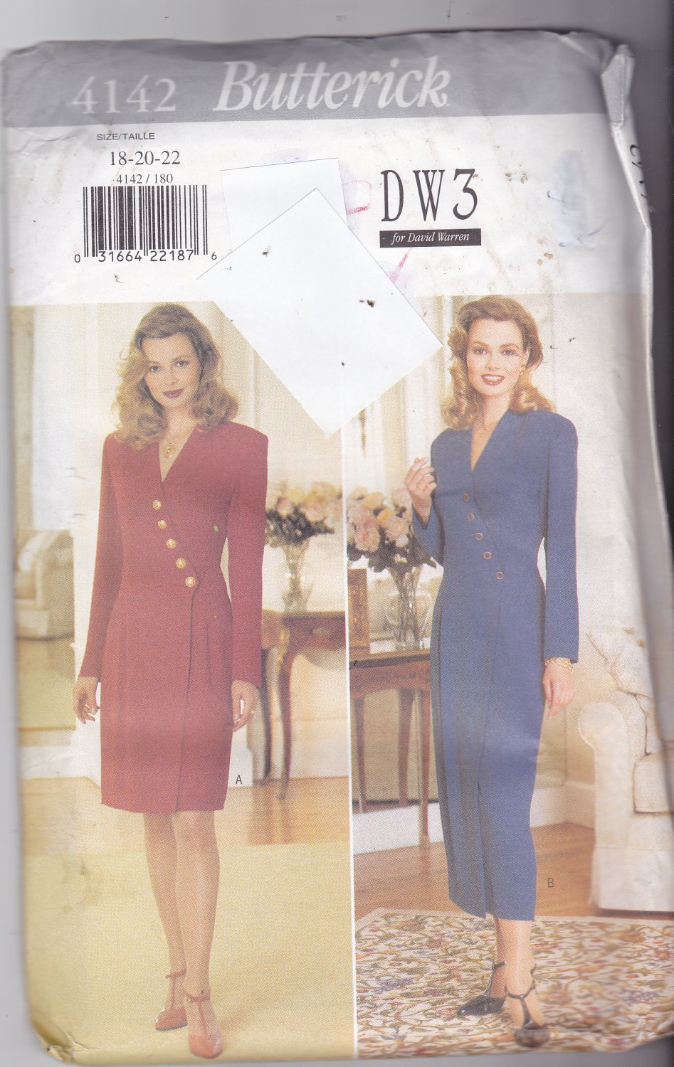 Butterick 4142 Pattern uncut 18 20 22 plus Fitted Straight Mock Wrap Dress DW3 David Warren