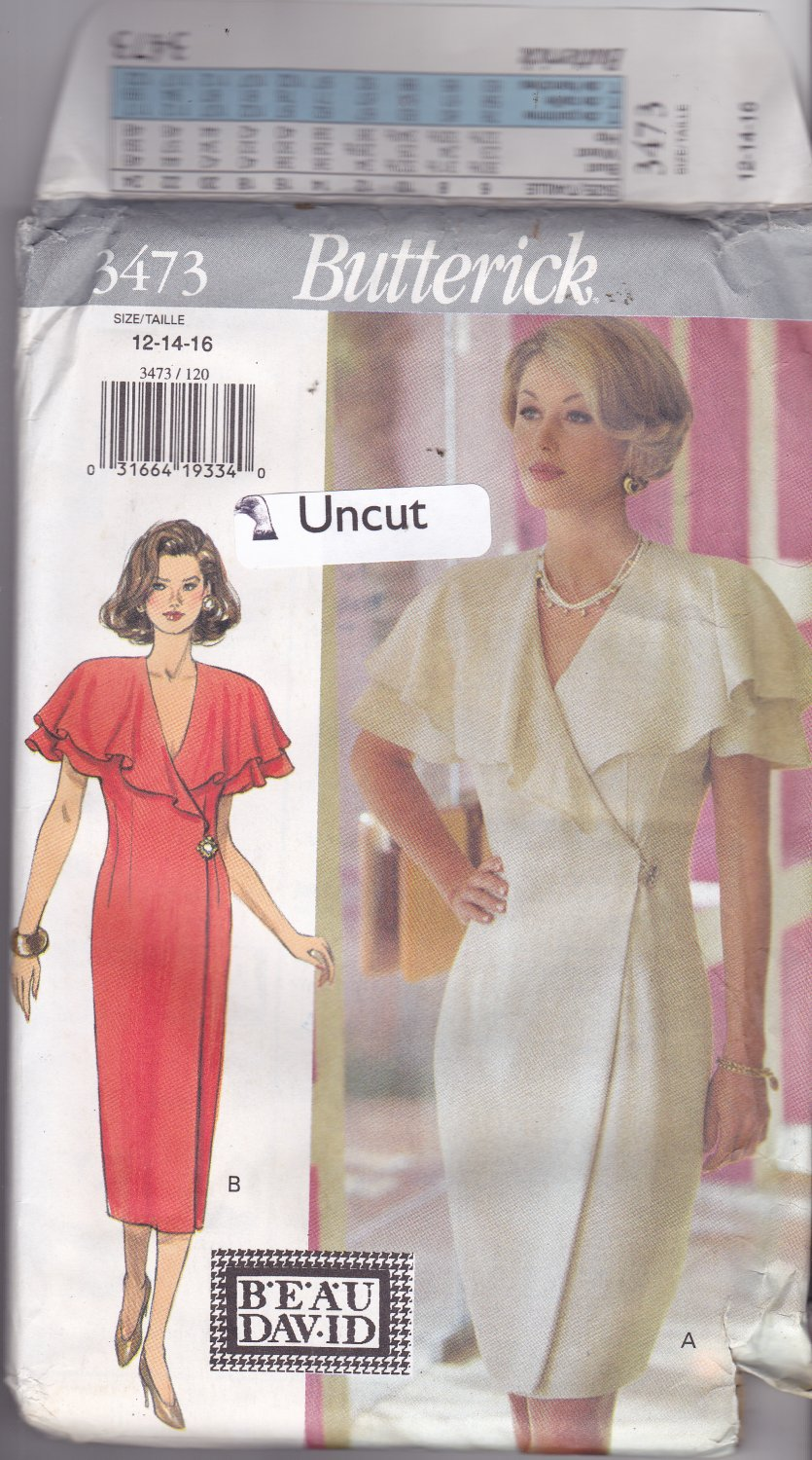 Butterick 3473 Pattern 12 14 16 uncut Semi-Fitted Wrap Dress Flouncy Sleeves Evening