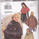 Butterick 3649 Pattern XS S M uncut Poncho Capelet Stole Outerwear Wraps