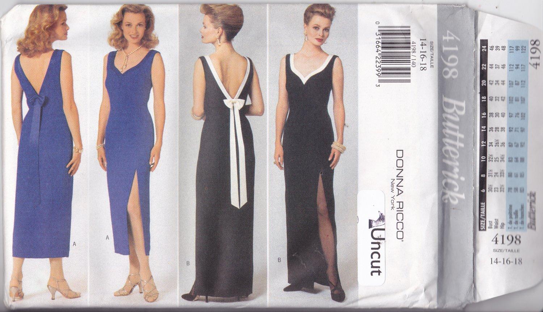 Butterick 4198 Pattern 14 16 18 Uncut Lined Dress Leg Slit Contrast Sweetheart Neckline Donna Ricco