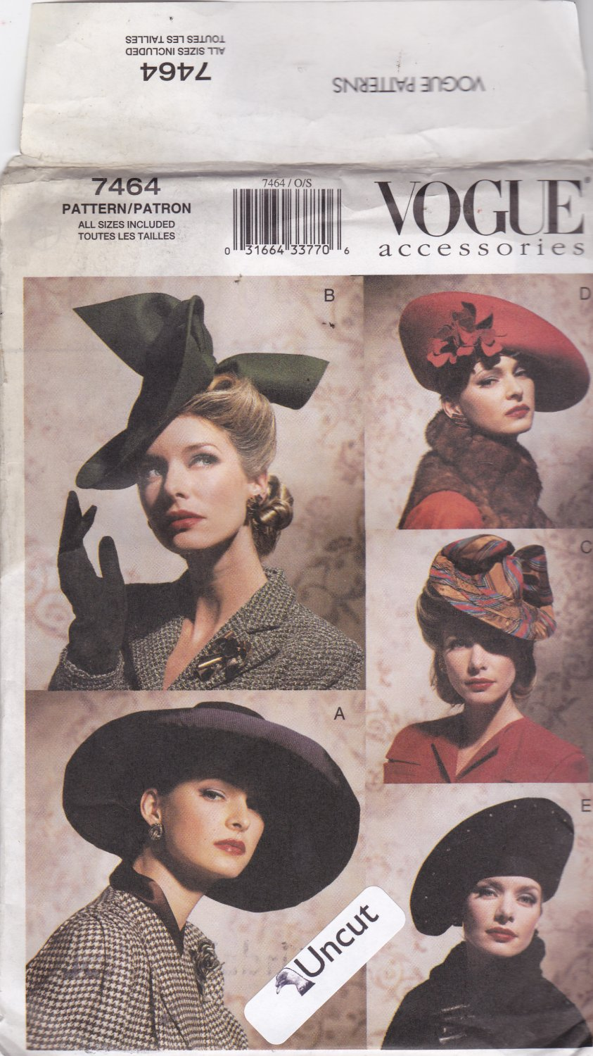 Vogue 7464 Pattern Uncut Retro Hats Modern Pattern for 1930s 1940s Style Hats