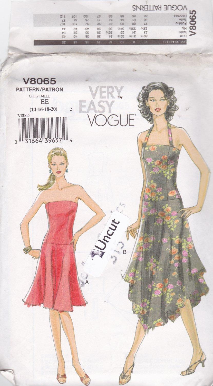 Vogue V8065 Pattern 14 16 18 20 Uncut Sundress Strapless or Halter Dress High Low Shaped Hem
