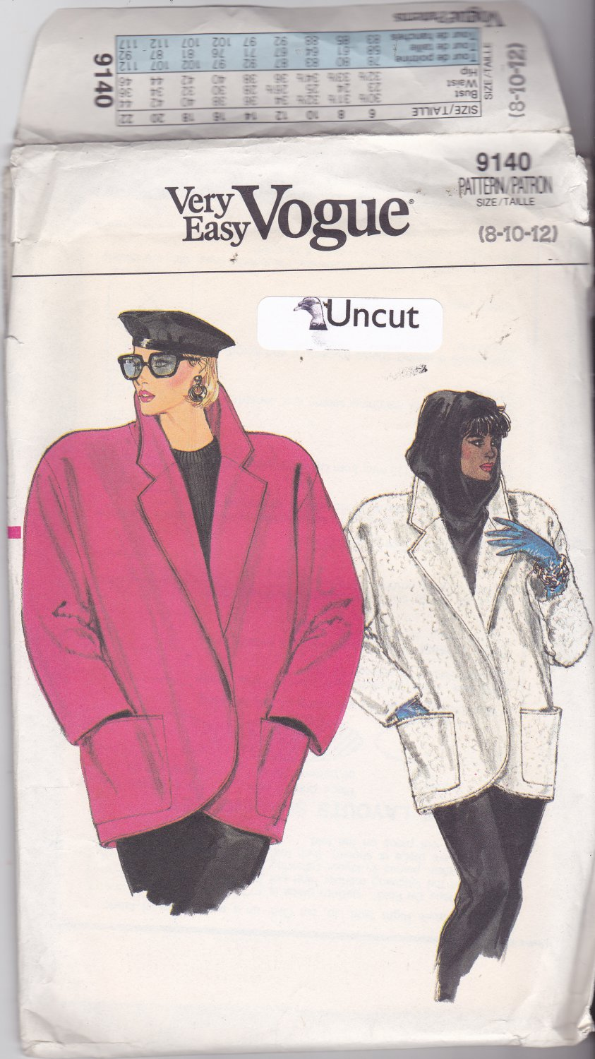 Vogue 9140 Pattern 8 10 12 Uncut Loose Fit Unlined Jacket Dropped Shoulders Patch Pockets