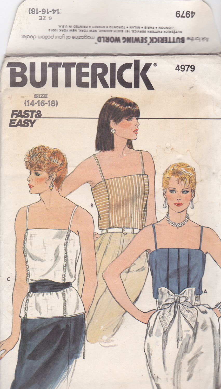 Butterick 4979 Pattern 14 16 18 Uncut Pullover Camisole Cami Front Tucks Crossways Panel