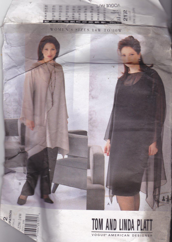 Vogue 2172 Pattern 20W 22W 24W Uncut Top Tunic Skirt Pants Shaped Hem Sheers Tom Linda Platt