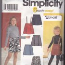 Simplicity 9337 Pattern Uncut size 7 8 10 12 14 Girls Pull On Skirts Pleated Mock Wrap Suspenders