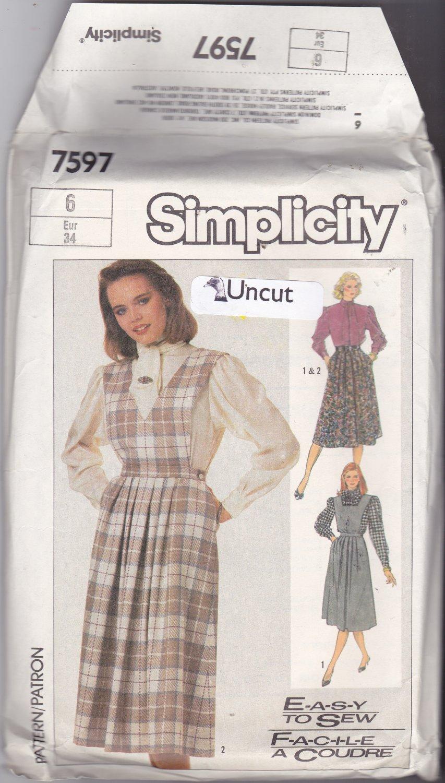Simplicity 7597 Pattern 6 Bust 30.5 Uncut Jumper Detachable Bib Blouse Skirt