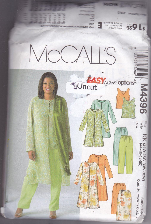 McCall's M4396 Pattern 26W 28W 30W 32W Uncut Sheer Duster Top Skirt Pants Dressy