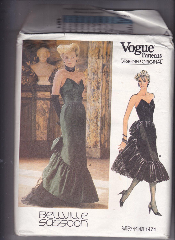 Vogue 1471 Pattern Uncut Size 8 Bust 31.5 Mid Calf Evening Length Strapless Dress Bellville Sassoon