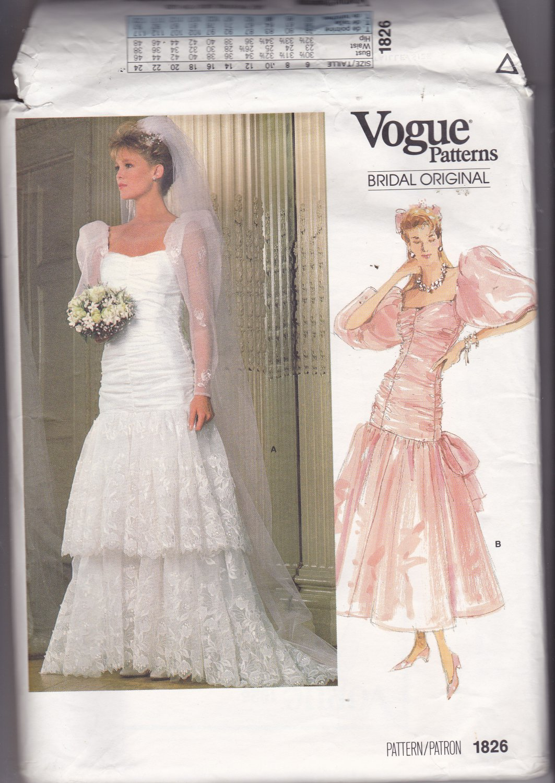 Vogue 1826 Pattern Uncut Size 8 Bust 31.5 Bridal Wedding Dress Train Shirred Bodice Lace Ruffles