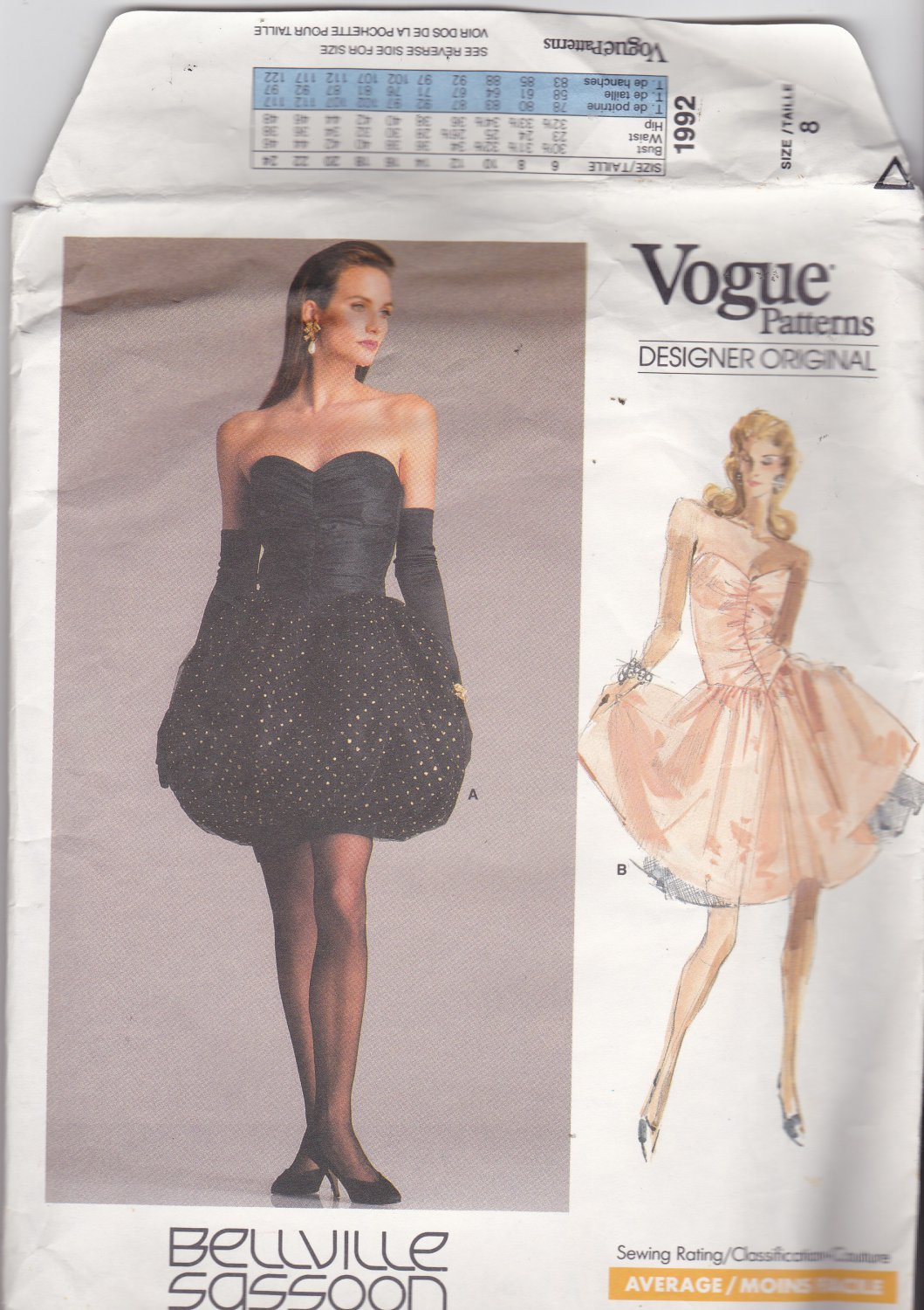Vogue 1992 Pattern Uncut Size 8 Above Knee Strapless Party Dress Bellville Sassoon